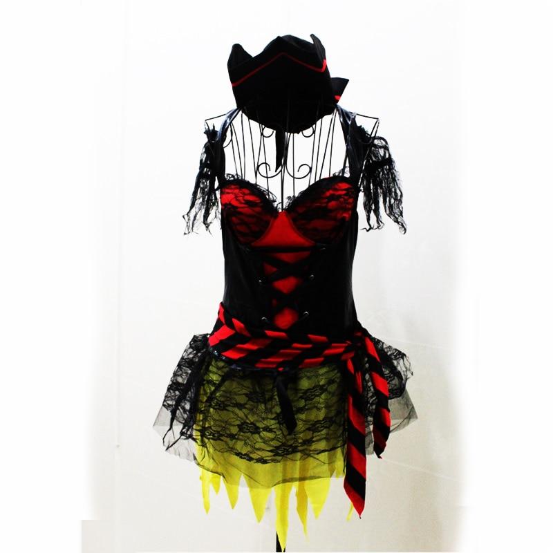 新しい高品質セクシーなレースの女性の海賊衣装ハロウィン海賊カリブ海コスプレファンシードレスプラスサイズパーティー衣装