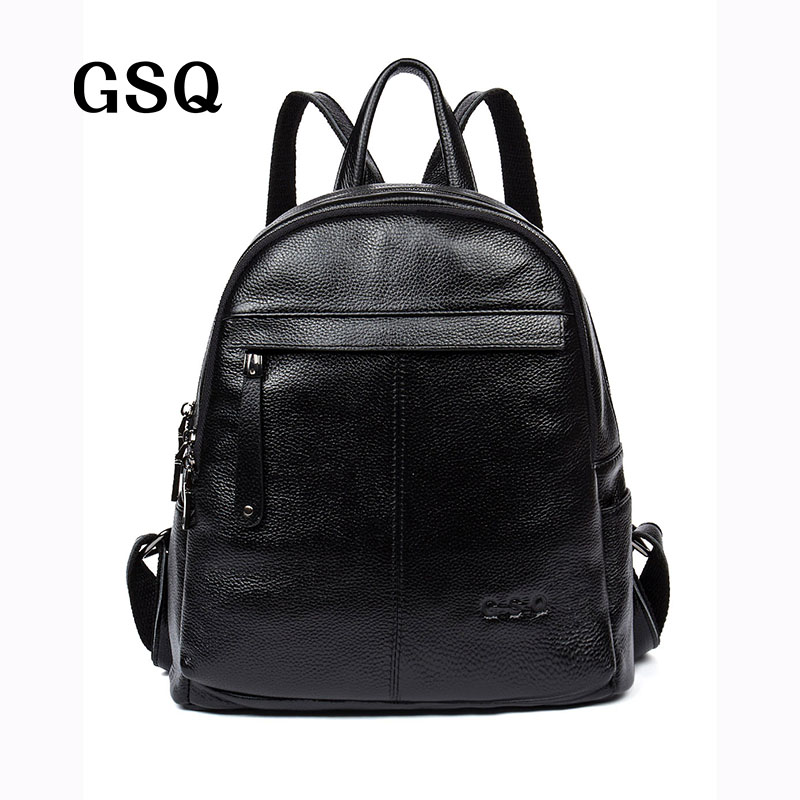 GSQ New Arrival 100% Genuine Leather Women Backpack Fashion High Quality Famous Brand Preppy Style Girl School Bag Travel Bag 2015 new fashion designer genuine leather brand ladies preppy style women backpack school backpack women shoulder wnb069