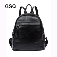 GSQ New Arrival Genuine Leather Women Backpack Fashion High Quality Famous Brand Preppy Style Girl School Bag Travel Bag G331