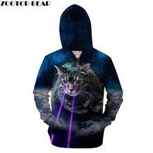 Ojo brillante gato Hoodies 3D hombres cremallera con capucha impreso  sudadera Galaxy Tracksuit Funny Pullover Zip capucha gota n. 6f11e7458f64