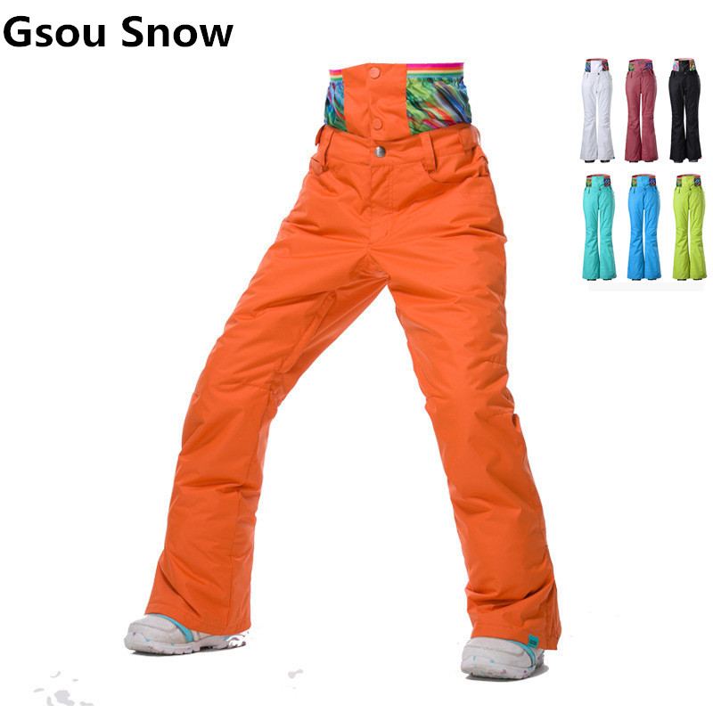 GSOU SNOW Brand Women Ski Pants Waterproof Thermal Snowboard Pants High-Waist Breathable Snow Trousers Women Outdoor Snow Pant