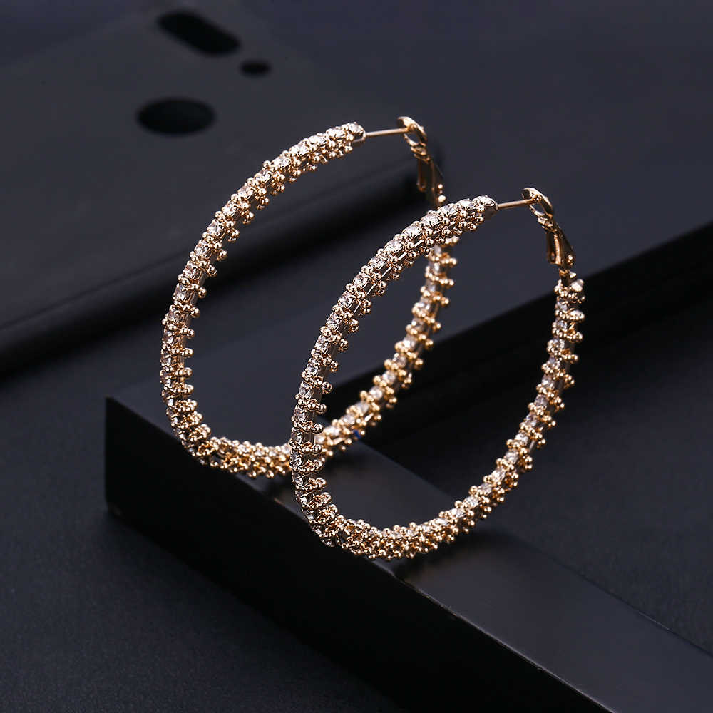 Janeklly trendy Geometrische bambo Hoop Ohrringe Für Frauen Zubehör Voller Zirkonia Ohrringe Schmuck pendientes mujer moda