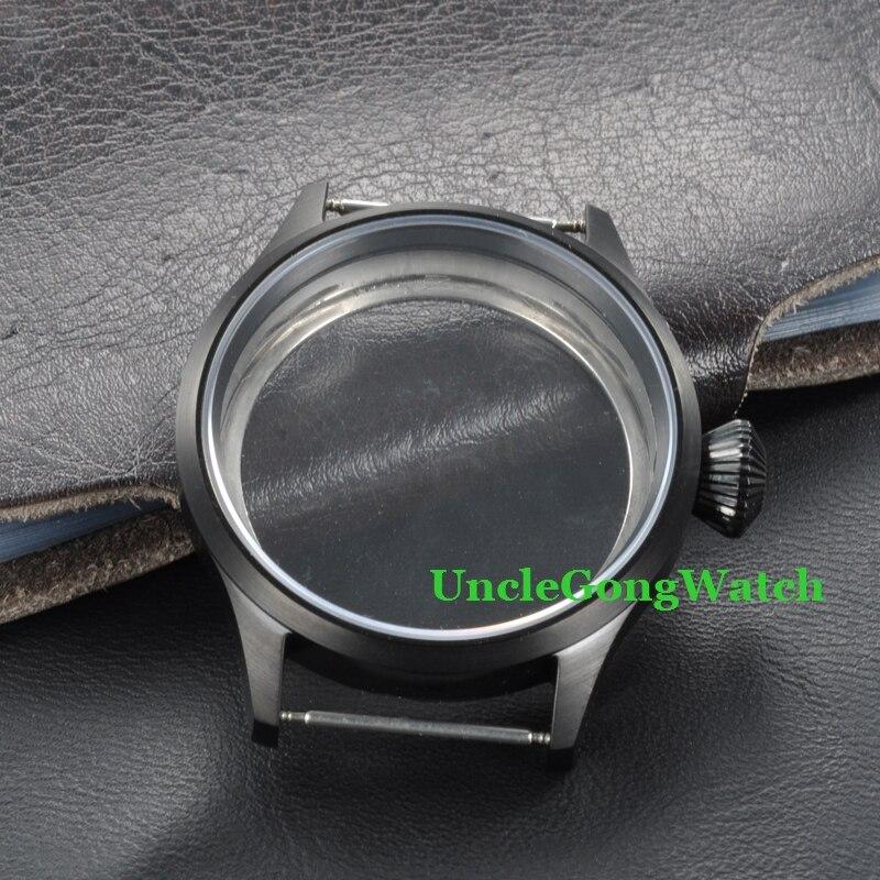 Pièces de montre, boîtier PVD noir en acier inoxydable de 43mm pour mouvement ETA UNITAS 6497/6498, boîtiers en verre saphir PC4302