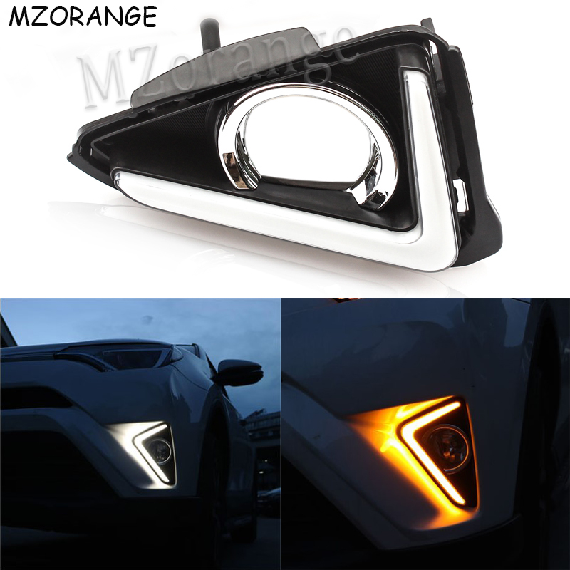 LED Daytime Running Light For Toyota RAV4 RAV 4 2016 2017 2018 DRL Blue Daylight With Yellow Turning Signal Light Fog Lamp Cover in Signal Lamp from Automobiles Motorcycles