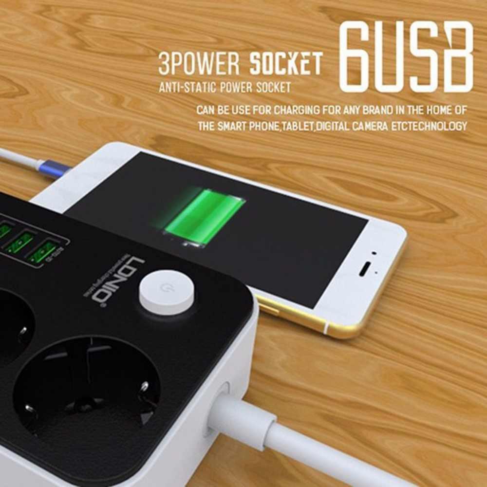 3 punkty, 6 porty USB USB elektroniczny listwa zasilająca inteligentnego domu gniazdo zabezpieczenie przeciwprzepięciowe szybkie ładowanie domu rozszerzenia łatka pokładzie ue