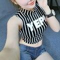 Yep camisa listrada de algodão t tees harajuku croped topos das culturas de todos os jogo de gola alta sem mangas t-shirt do verão estilo coreano camisetas