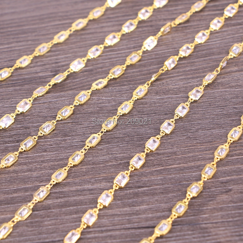 Finding DIY 3 Meter Cubic Zirconia Brass Chain,4x6mm Rectangle Beaded Chain,For Jewelry Making-in Jewelry Findings & Components from Jewelry & Accessories    3