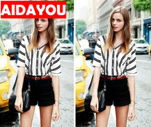 Ladies striped shirt front and rear double V-collar bat sleeve leisure fashion Blouse