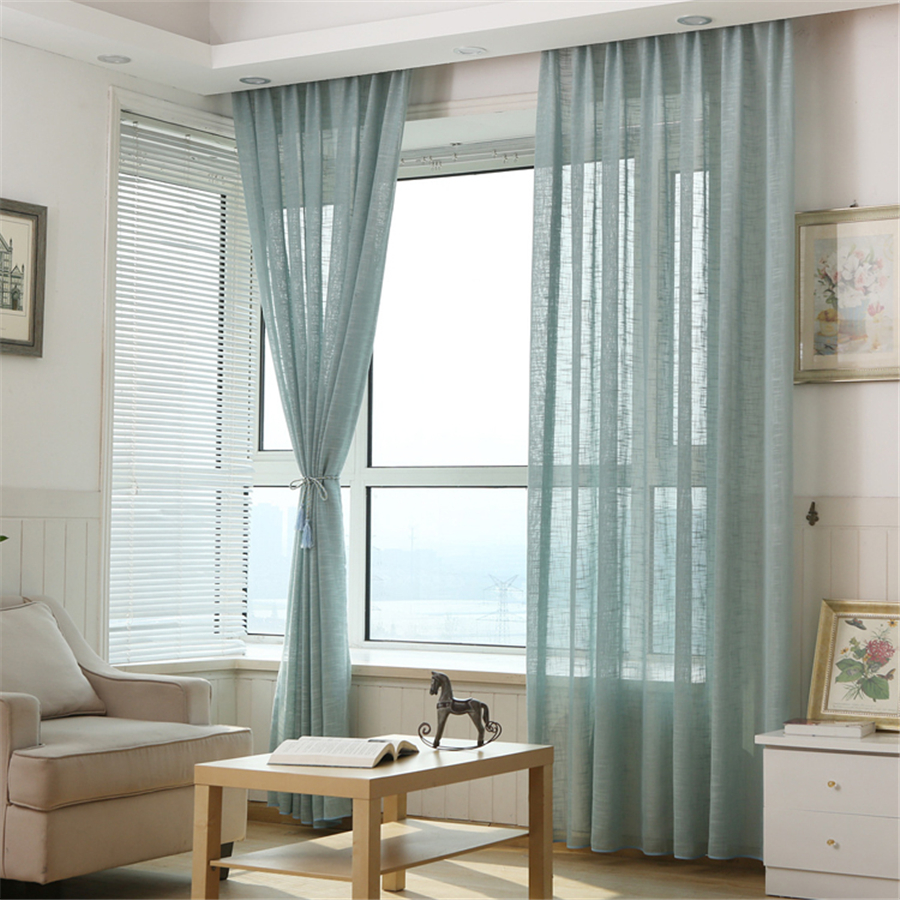 Linen curtains Customized Multicolor Thicken window treatments ... for Blue And White Curtains For Living Room  269ane