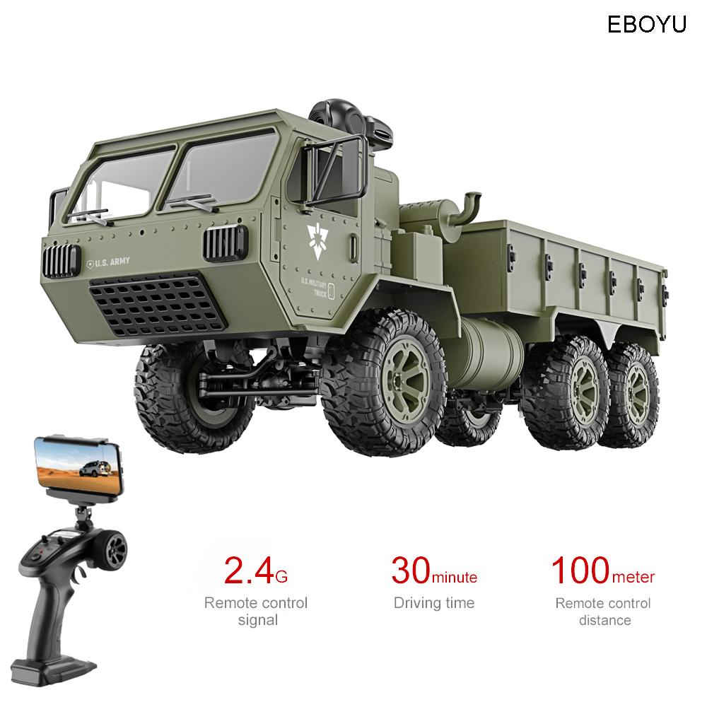 EBOYU FY004AW US Army Military Truck 1:16 2.4G High Speed 15km/h Remote Control 6WD RC Truck Off-Road RTR Gift for Children image