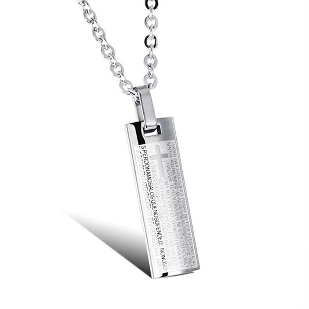 Art Design Stainless Steel Men's Silver Color Pendant Necklace Letter and Cross Style Pendant Necklace with Chain