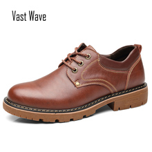 VASTWAVE High Quality Men Casual Shoes 2019 New Genuine Leather Flat Shoes Men Oxford Fashion Lace Up Men's shoes Work Shoe genuine leather men oxford shoes retro style lace up carving bullock casual men shoes high quality brand leather footwear 2018
