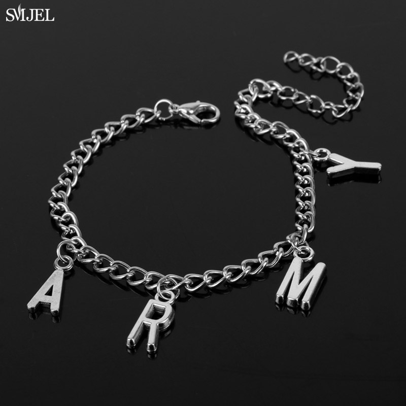 SMJEL Punk Jimin ARMY Letter Bracelets for Women Men Kpop Boys Jewelry Korean Style Army Birthday Gifts Friend