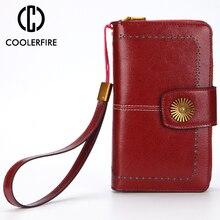 Купить с кэшбэком Fashion Genuine Leather Women Wallets Long Clutch Ladies Purses Card Holder Women Phone Bags  large capacity Money Bags PJ109