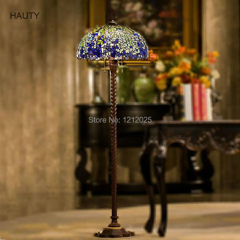 Antique tiffany style wistaria floor lamp for living room vintage standing lamps stained glass for Free standing lights for living room