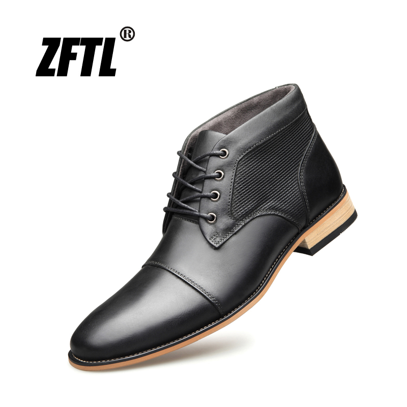 ZFTL New Men Martin boots Handmade shoes Genuine Leather Man Ankle boots male casual high top