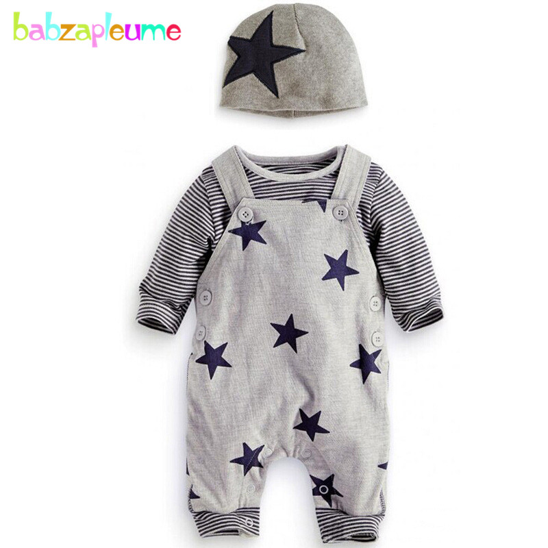 2PCS/3-24Months/spring autumn baby outfit infant boys clothing sets casual stripe cotton t-shirt+Overalls newborn clothes BC1564