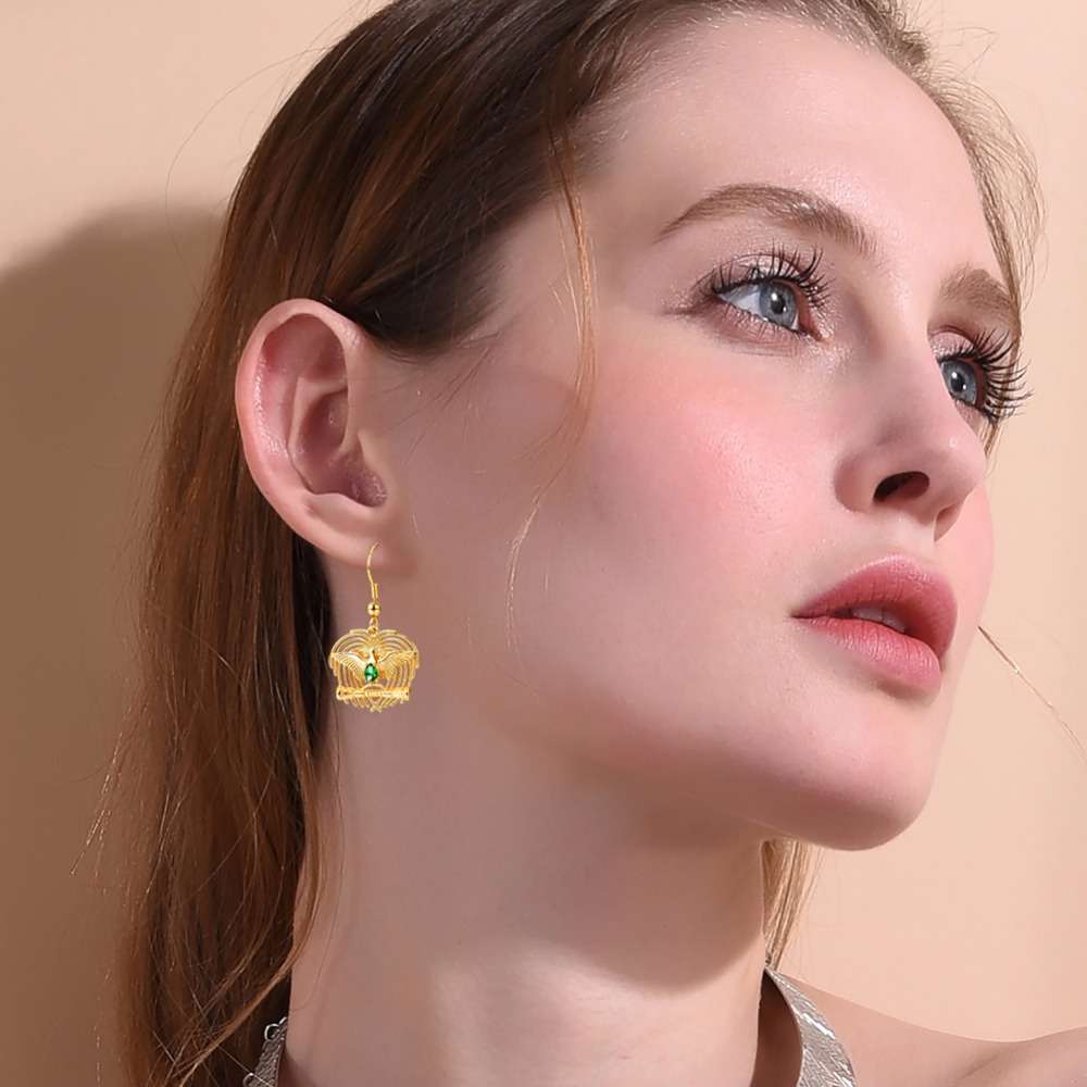 Bird of Paradise Dangle Earrings Gold Color Australia/Indonesia/Papua New Guinea Jewlery Bowerbirds Earrings For Women E2900