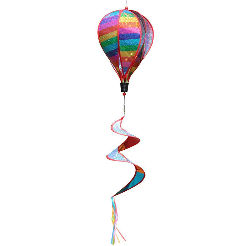 Rainbow Hot Air Balloon Wind Turn Windmill Rotating Colorful Garden Wind Strip Hot Air Balloon Windsock Striped Spinner Yard