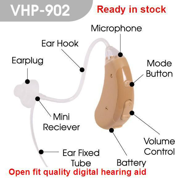 VOHOM VHP-902 adjustable Open fit digital wireless Hearing Aid sound amplifier digital Hearing Aids for personal ear voice 2018 otoscopio cheap hearing aid medical equipment ear instrument aids sound amplifier earphone for audiphone behind the s 998
