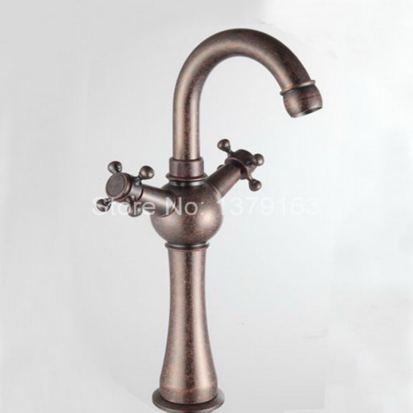 Antique Red Copper Swivel Kitchen Dual Cross Handles Bathroom Vessel Sink Faucet Mixer Tap Free Shipping! ann013 antique brass swivel spout dual cross handles kitchen