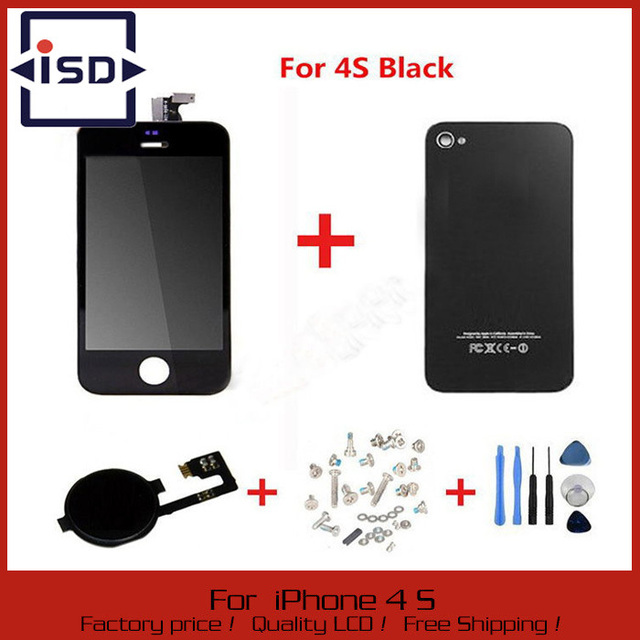 Negro de la Pantalla Táctil + LCD Display + Digitalizador de Cristal Trasera de la Cubierta cover + home botón pieza de recambio para el iphone 4s & tornillo herramientas