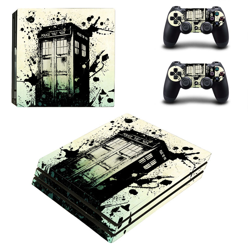 HOMEREALLY PS4 Pro Skin Police Box Custom Vinly Sticker Cover For Playstaion 4 Pro Console and Controller Skin Ps4 Pro Accessory
