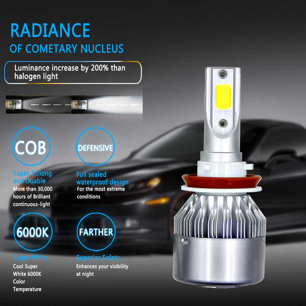 1X Auto Car H7 LED H4 H11 H1 H3 H13 880 9004 9005 9006 9007 Headlights 6000K 72W 8000LM COB Bulbs Diodes Automobiles Parts Lamp