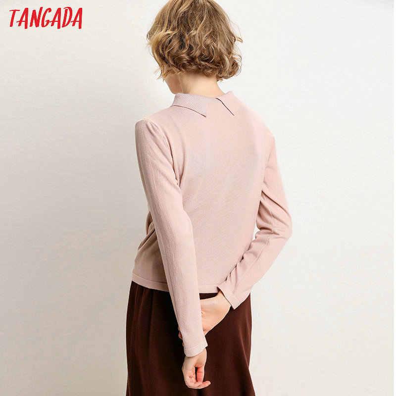 Tangada moda kadınlar katı kazak ceket sonbahar kış uzun kollu turn down yaka hırka kazak cepler dış giyim AQJ07