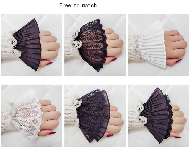 Decorative sleeves cotton wrist Pleated cuff