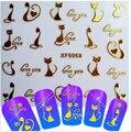 1 hojas Nuevas de La Manera 3d Nail Art Decals Stickers Glitter Precioso Gato de Oro Diseños Consejos de BRICOLAJE Decoraciones Herramientas de Peinado XF6068!