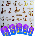 1sheets New Fashion 3d Nail Art Decals Stickers Glitter Lovely Cat Gold Designs DIY Tips Decorations Styling Tools XF6068 !