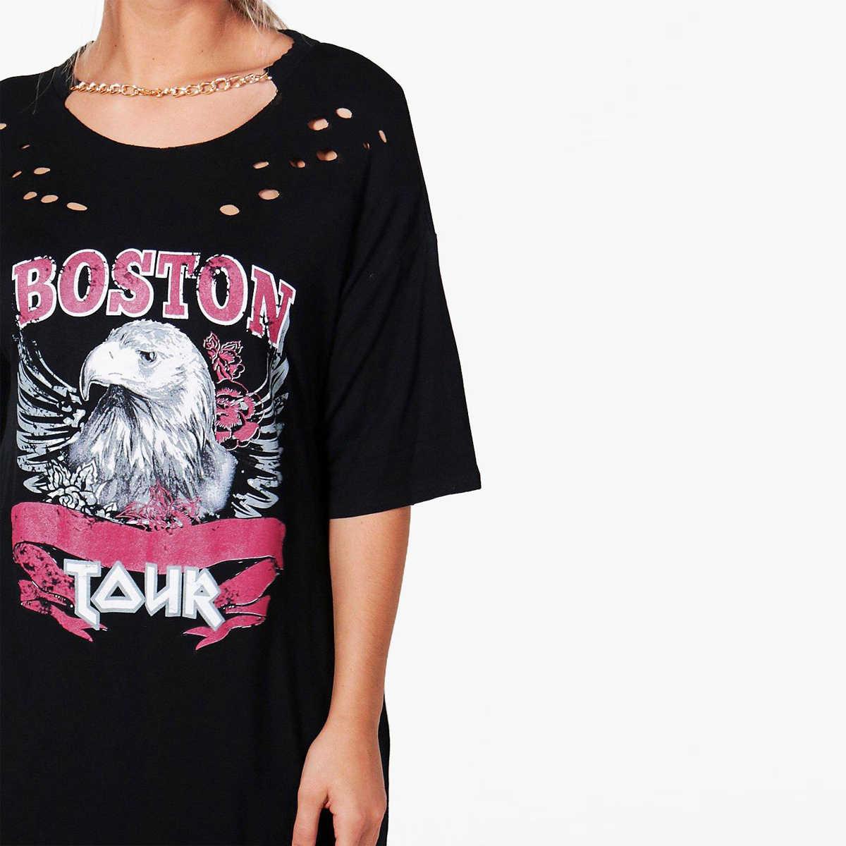 392e628a289 ... Kissmilk Plus Size Women Animal BOSTON Print T-shirt Dress Distressed Punk  Shirt Hollow Out