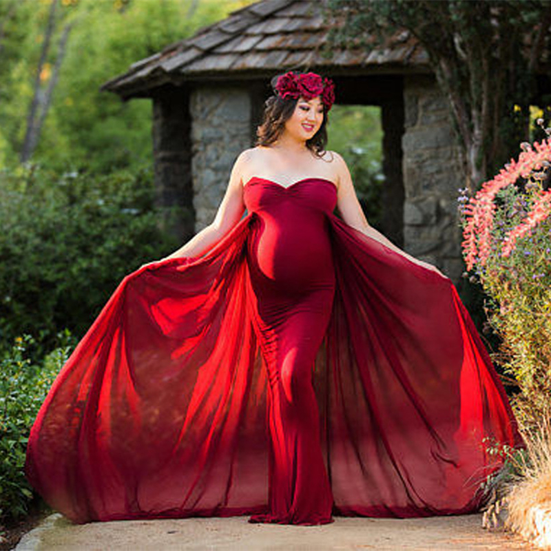 купить 2018 Women Pregnancy Dress For Photo Shooting Sexy Off Shoulder Maxi Maternity Gown Chiffon Maternity Dresses Photography Props онлайн