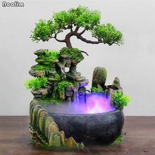 Creative Indoor Simulation Resin Rockery Waterscape Feng Shui Water Fountain Home Office Desktop Spray Humid Decoration Crafts(China)