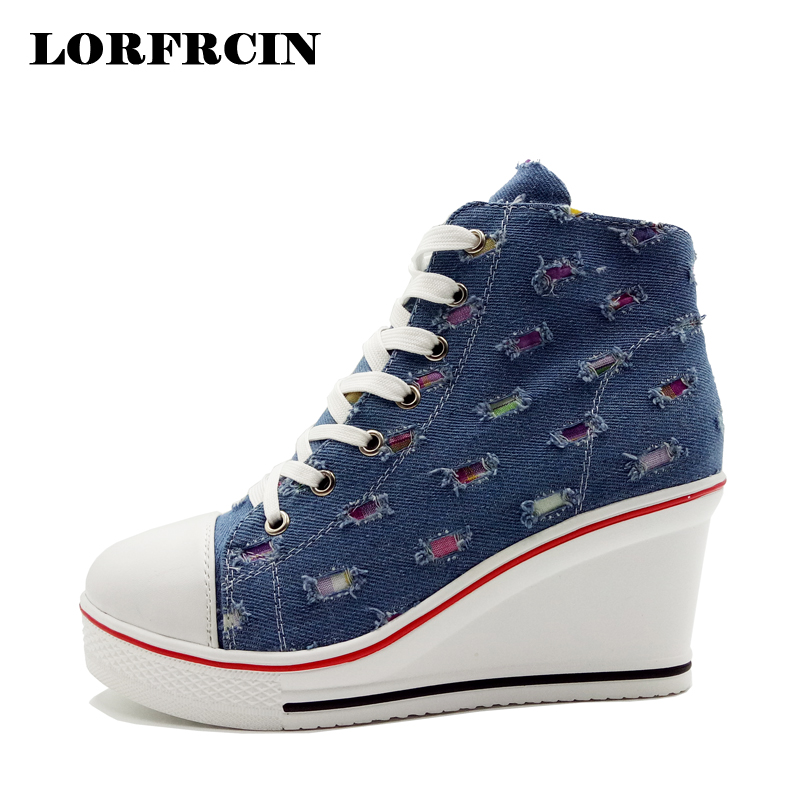Plus Size 42 Canvas Shoes Woman Wedges Platform Shoes 10cm Heel Height Increasing Women High Top Casual Elevator Shoes LORFRCIN