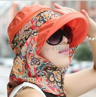 2015 kadınlar açık balıkçılık dağcılık orman için komik baskı çiçek kova şapka kap boyun yüz koruma güneşlik rüzgar kum