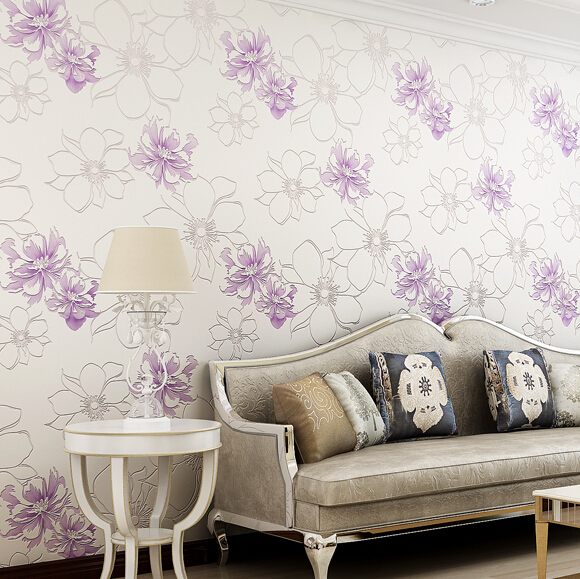 ФОТО beibehang High Quality modern style Flower 3d wallpaper for walls non-woven eco-friendly papel de parede of girl bedroom Bedding