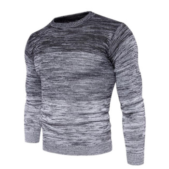 Autumn Winter Men's Cashmere Pullovers Gradient Color Knitted Sweater Men Fashion Mens Social Long Sleeve Casual Sweater For Men 1
