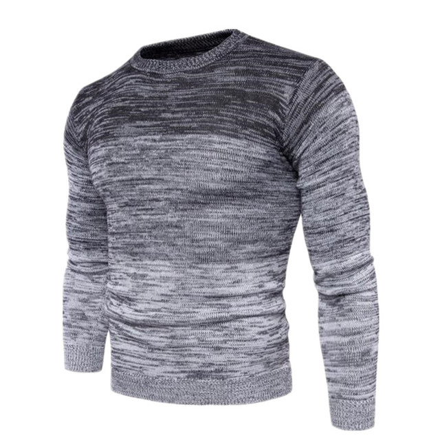 e609d8810 Autumn Winter Men's Cashmere Pullovers Gradient Color Knitted Sweater Men  Fashion Mens Social Long Sleeve Casual Sweater For Men