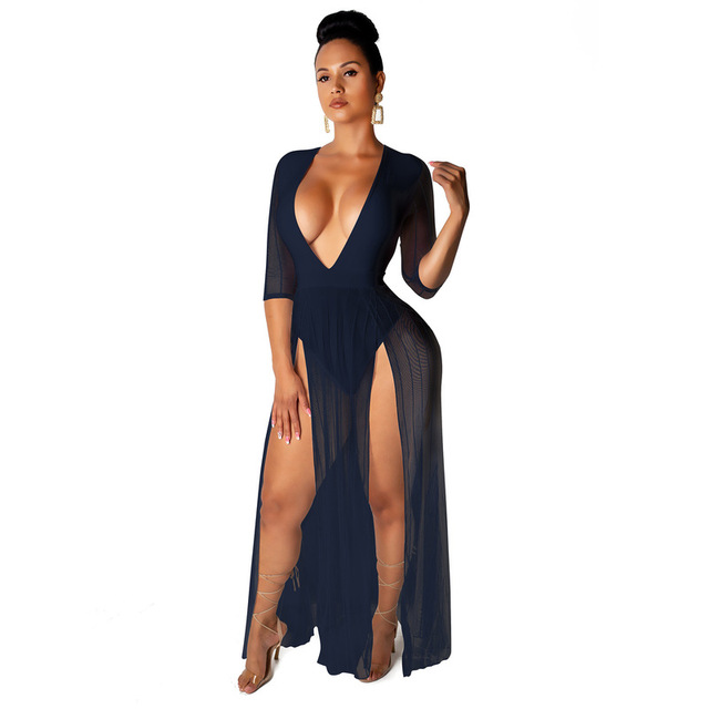 Long white beach dress with side slit