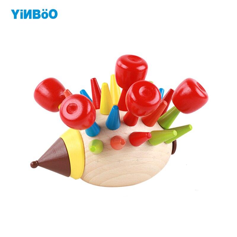 Новый Раннее Обучение Игрушки для маленьких детей DIY Ежик игры деревянные Игрушечные ло ...