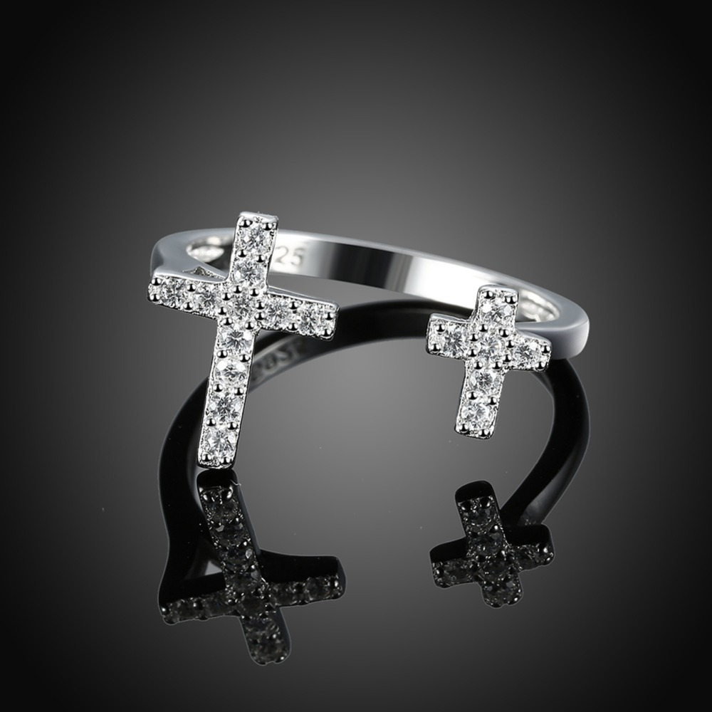R138 100% 925 sterling silver cross shape finger ring with zircon woman fashion jewelry christmas gift anel feminino SVR138