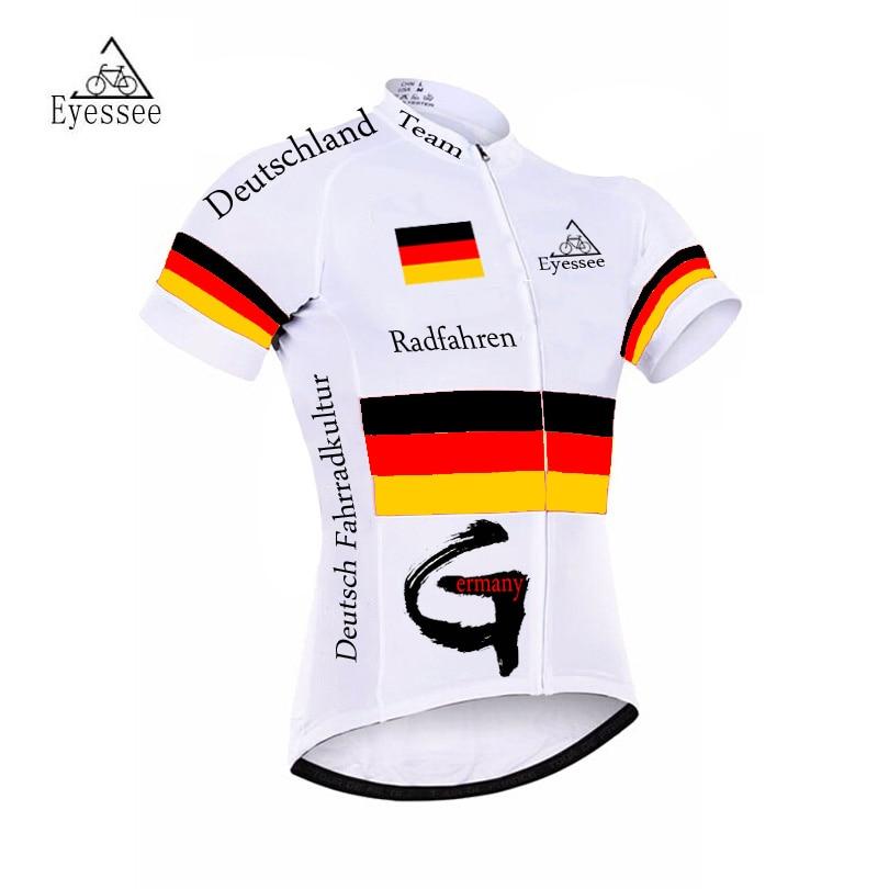 Prix pour 2017 Allemagne cycling jersey/summer team Vélo De Course Jersey Ropa Ciclismo Eyessee respirant maille à manches courtes vêtements