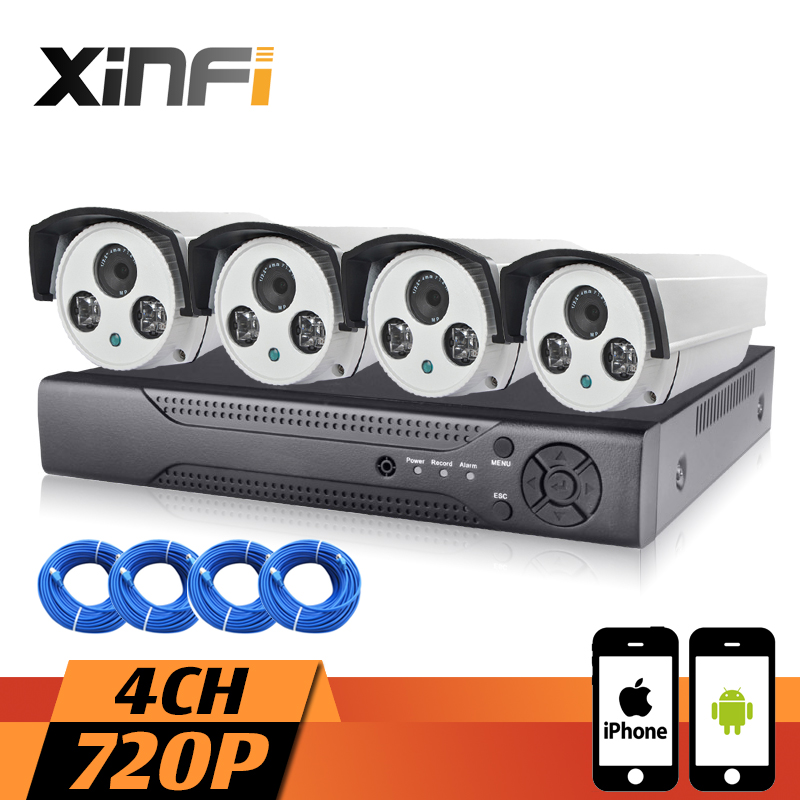 XINFI 4CH 1.0MP Surveillance System 1080P HDMI NVR Network Video Recorder 720P HD Home Security Camera System CCTV kit