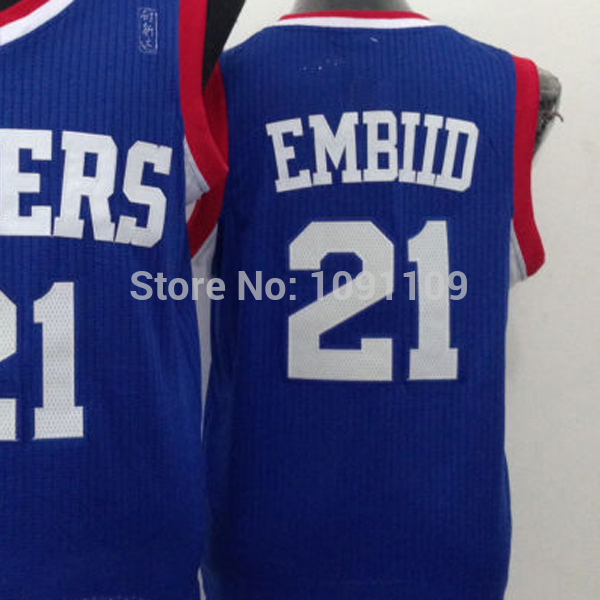 dd8e74a7b6b ... closeout joel embiid jersey philadelphia 21 jersey joel embiid blue red  and white quality embroidery jersey