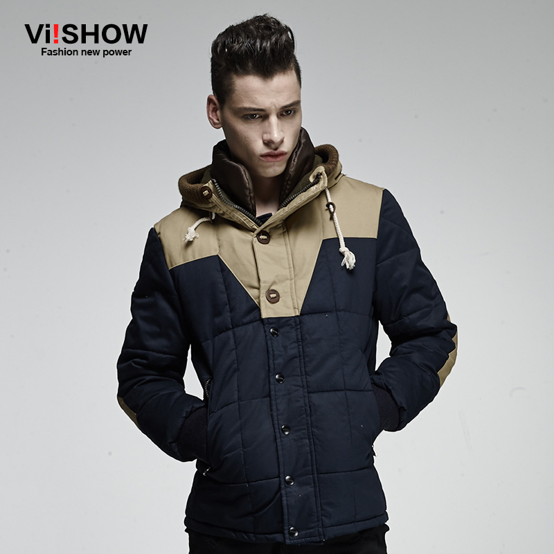 Viishow New Parka Coat Men Winter Navy Color Jacket Man Parkas Coat Brand Hoody Warm Coat Mens Slim Fit Plus Size S-XXXL MC13146 men ultra light large size thin parka jacket korean black cardigan china hoody winter overcoat slim warm military manteau homme