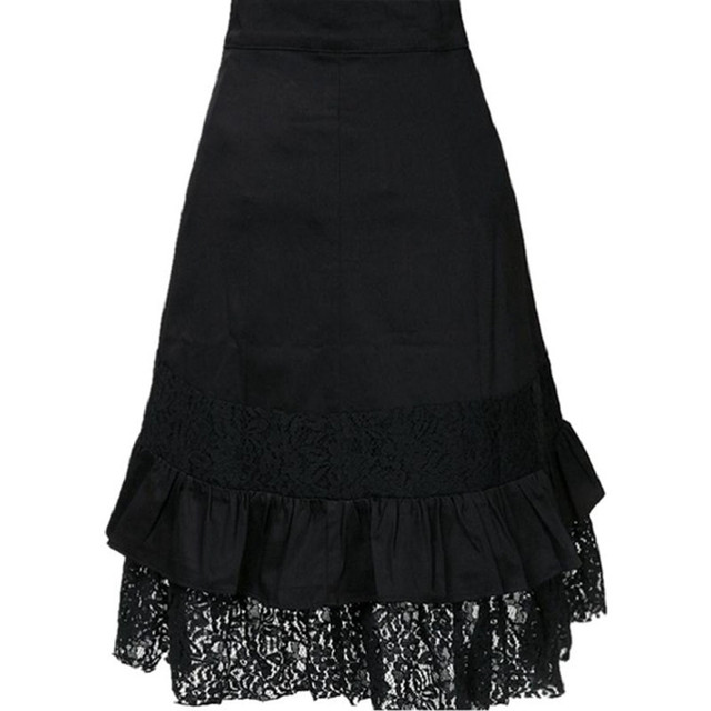Women's Steampunk Clothing Party Club Wear Punk Gothic Retro Black Lace Skirt black fashion 2019 jupe femme black 2