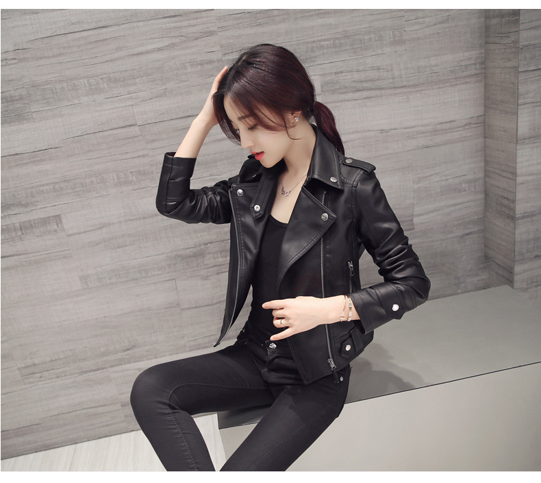 Mr.nut PU coat locomotive Korean version of Slim streetwear Turn-down Collar Office Lady   leather   jacket