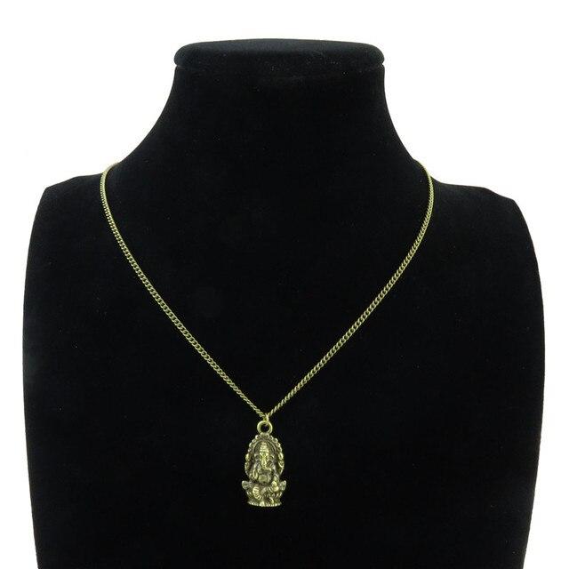 GLOWCAT Q12A35 alliage de Bronze femmes filles bijoux Ganesha Ganesh foi pendentif courte chaîne collier 18